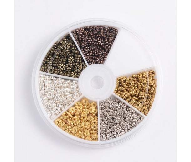 Spacers Mix with Organizer, 5mm Daisy, Assorted Finish