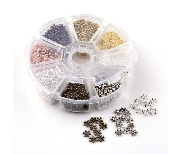 Spacers Mix with Organizer, 9mm Snowflake, Assorted Finish