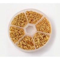 Jump Ring Mix with Organizer, 6 Sizes, Gold Tone