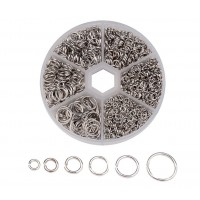 Jump Ring Mix with Organizer, 6 Sizes, Rhodium