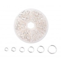 Jump Ring Mix with Organizer, 6 Sizes, Silver Tone
