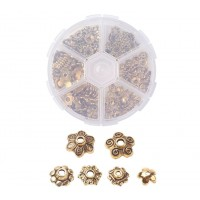 Bead Cap Mix with Organizer, 6 Shapes, Antique Gold