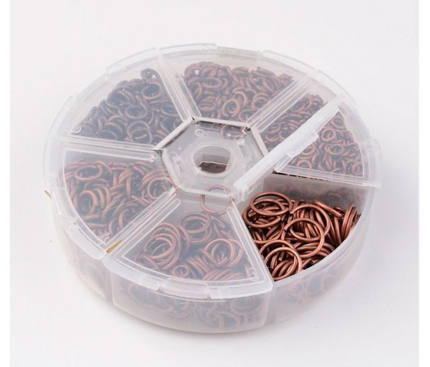 Jump Ring Mix with Organizer, 6 Sizes, Antique Copper