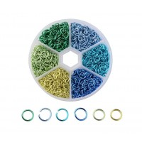 Colored Aluminum Jump Ring Mix with Organizer, 6 Colors, Spring Mix