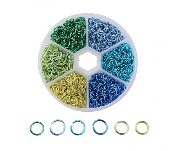 Colored Aluminum Jump Ring Mix with Organizer, 6 Sizes, Spring Mix