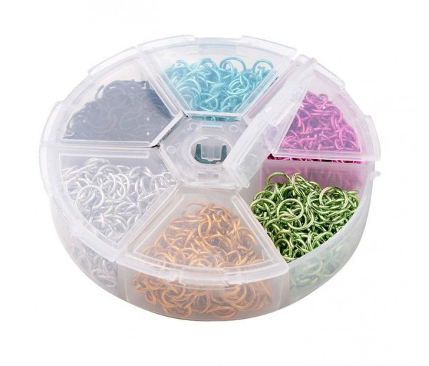 Colored Aluminum Jump Ring Mix with Organizer, 6 Colors, Winter Mix