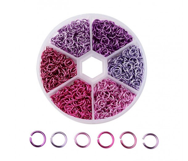 Colored Aluminum Jump Ring Mix with Organizer, 6 Sizes, Princess Mix