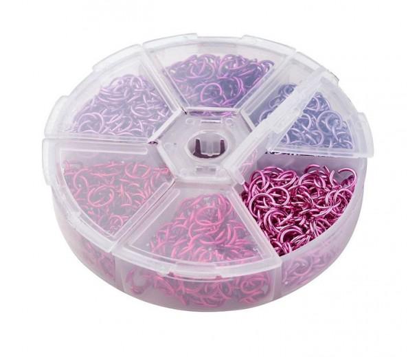 Colored Aluminum Jump Ring Mix with Organizer, 6 Colors, Princess Mix