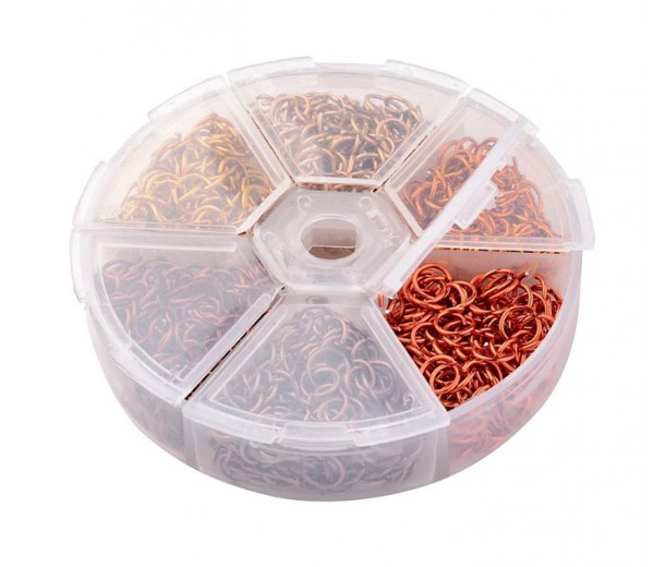 Colored Aluminum Jump Ring Mix with Organizer, 6 Sizes, Autumn Mix