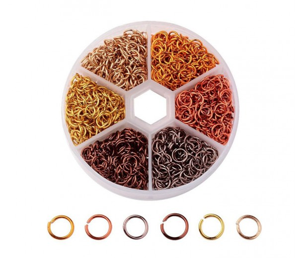Colored Aluminum Jump Ring Mix with Organizer, 6 Colors, Autumn Mix