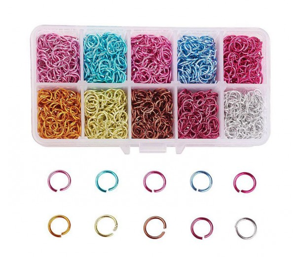 Colored Aluminum 8mm Jump Ring Mix, 10 Colors, Flower Garden