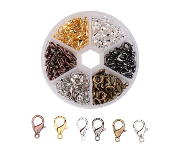 14mm Lobster Clasp Mix with Organizer, Assorted Finish