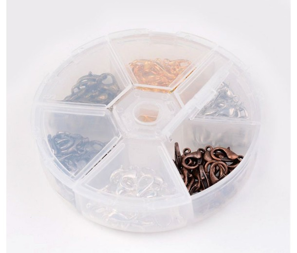 12mm Lobster Clasp Mix with Organizer, Assorted Finish