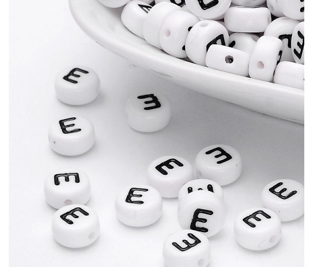 Letter E White Acrylic Beads, 7x4mm Flat Round, Pack of 100