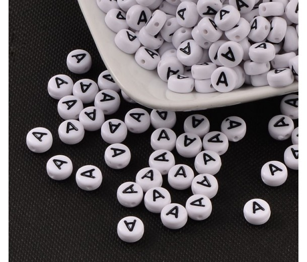 Letter A White Acrylic Beads, 7x4mm Flat Round, Pack of 100