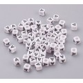 Letter A White Acrylic Beads, 6mm Cube, Pack of 50