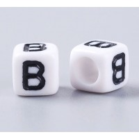 Letter B White Acrylic Beads, 6mm Cube, Pack of 50