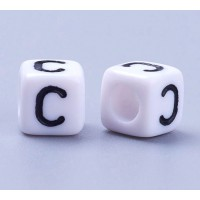 Letter C White Acrylic Beads, 6mm Cube, Pack of 50