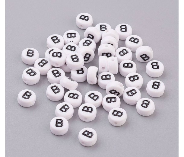 Letter B White Acrylic Beads, 7x4mm Flat Round, Pack of 100