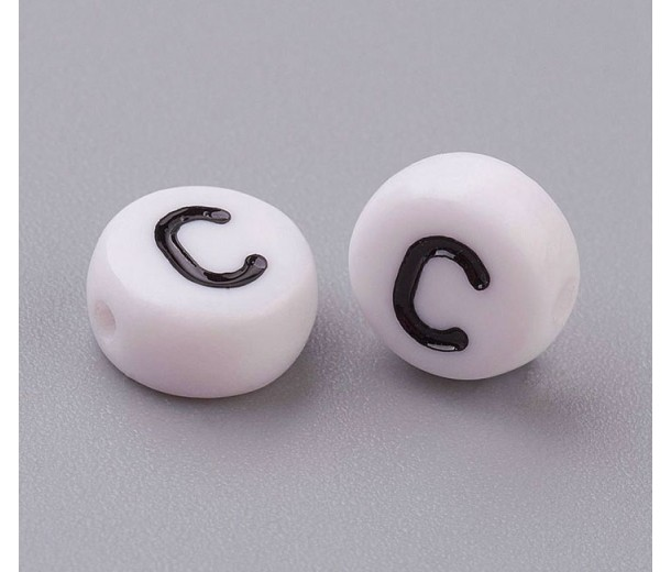 Letter C White Acrylic Beads, 7x4mm Flat Round, Pack of 100
