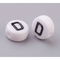 Letter D White Acrylic Beads, 7x4mm Flat Round, Pack of 100