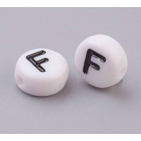 Letter F White Acrylic Beads, 7x4mm Flat Round, Pack of 100