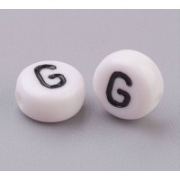 Letter G White Acrylic Beads, 7x4mm Flat Round, Pack of 100