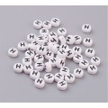 Letter H White Acrylic Beads, 7x4mm Flat Round, Pack of 100