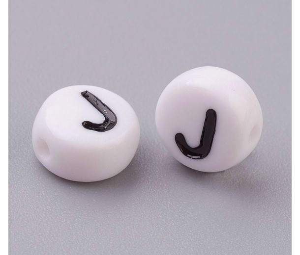 Letter J White Acrylic Beads, 7x4mm Flat Round, Pack of 100