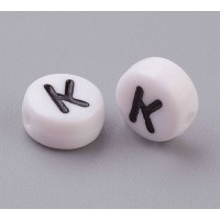 Letter K White Acrylic Beads, 7x4mm Flat Round, Pack of 100