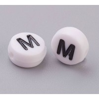 Letter M White Acrylic Beads, 7x4mm Flat Round, Pack of 100