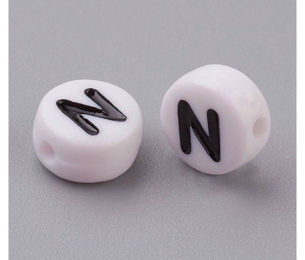 Letter N White Acrylic Beads, 7x4mm Flat Round, Pack of 100