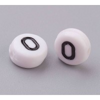 Letter O White Acrylic Beads, 7x4mm Flat Round, Pack of 100