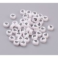 Letter P White Acrylic Beads, 7x4mm Flat Round, Pack of 100