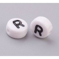 Letter R White Acrylic Beads, 7x4mm Flat Round, Pack of 100