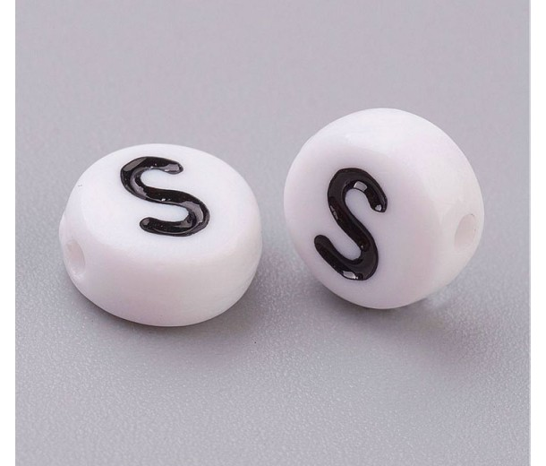 Letter S White Acrylic Beads, 7x4mm Flat Round, Pack of 100