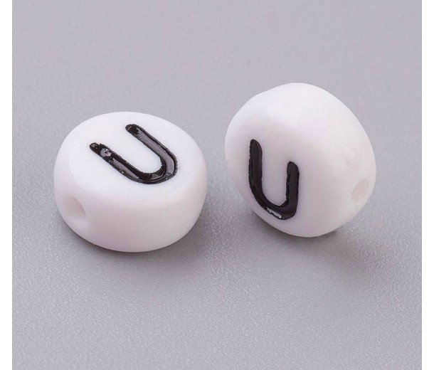 Letter U White Acrylic Beads, 7x4mm Flat Round, Pack of 100