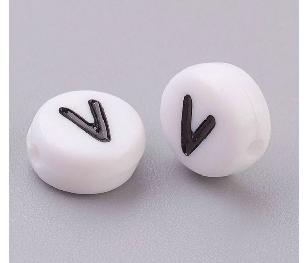 Letter V White Acrylic Beads, 7x4mm Flat Round, Pack of 100
