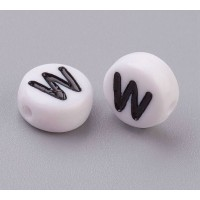 Letter W White Acrylic Beads, 7x4mm Flat Round, Pack of 100