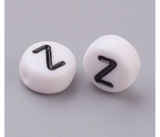 Letter Z White Acrylic Beads, 7x4mm Flat Round, Pack of 100