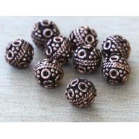 7mm Round Genuine Copper Beads, Bali Style