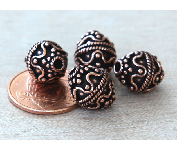 10mm Bali Style Oval Beads, Antique Copper