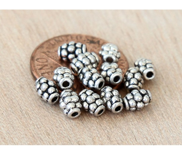 4x5mm Oval Beads, Antique Silver