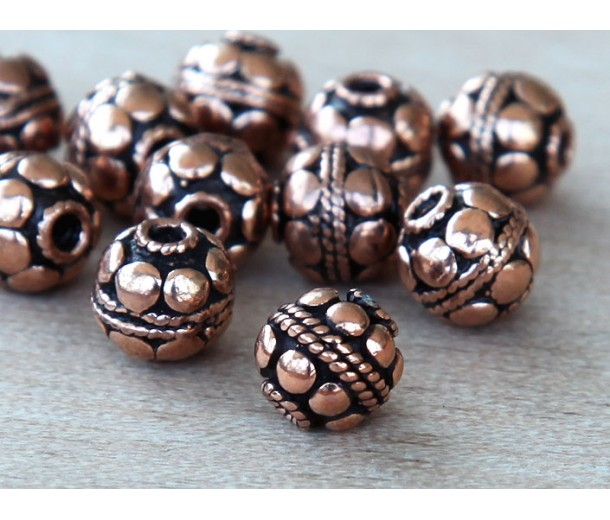 6mm Bali Style Round Beads, Antique Copper
