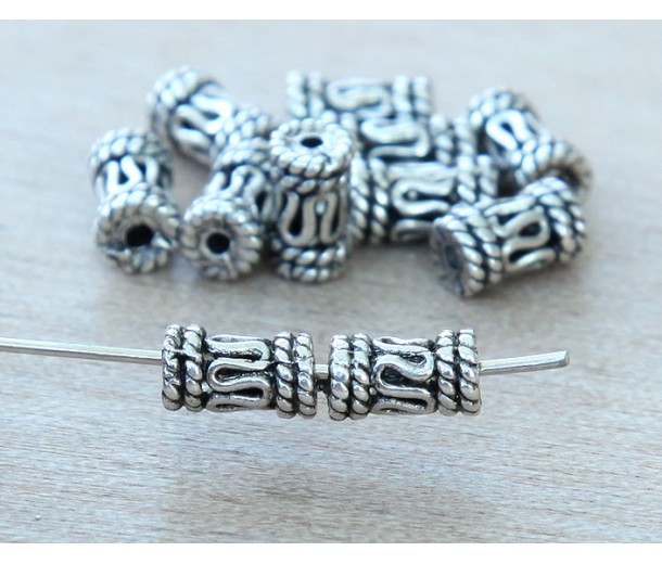 5x8mm Bali Style Column Beads, Antique Silver