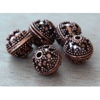 10mm Round Genuine Copper Beads, Bali Style