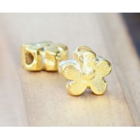 13mm Flower Large Hole Beads, Gold Plated