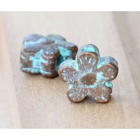 13mm Flower Large Hole Beads, Green Patina