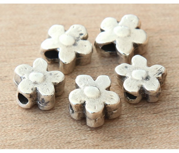 13mm Flower Large Hole Beads, Antique Silver