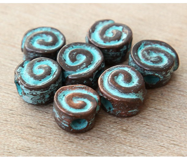 14mm Snail Flat Round Beads, Green Patina, Pack of 3